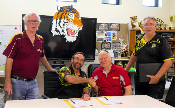 Signing sponsorship for Nightcliff Tigers Scoreboard