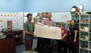 Fran and Jeff present the 2014 AGM cheque to WIMS